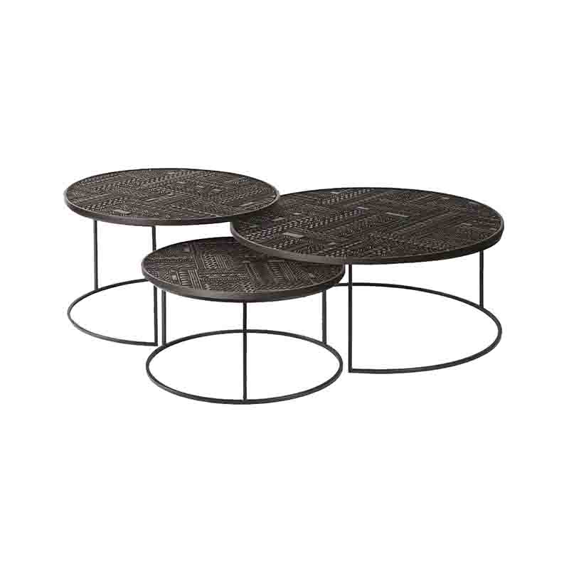Ethnicraft Tabwa Coffee Table - Set of Three by Carlos Baladia Olson and Baker - Designer & Contemporary Sofas, Furniture - Olson and Baker showcases original designs from authentic, designer brands. Buy contemporary furniture, lighting, storage, sofas & chairs at Olson + Baker.