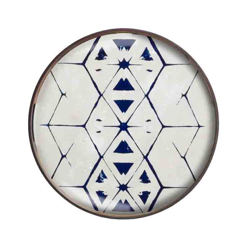 Ethnicraft Tribal Hexagon Round Glass Tray by Dawn Sweitzer Olson and Baker - Designer & Contemporary Sofas, Furniture - Olson and Baker showcases original designs from authentic, designer brands. Buy contemporary furniture, lighting, storage, sofas & chairs at Olson + Baker.
