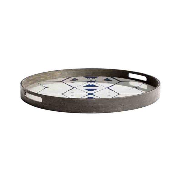 Tribal Hexagon Round Glass Tray