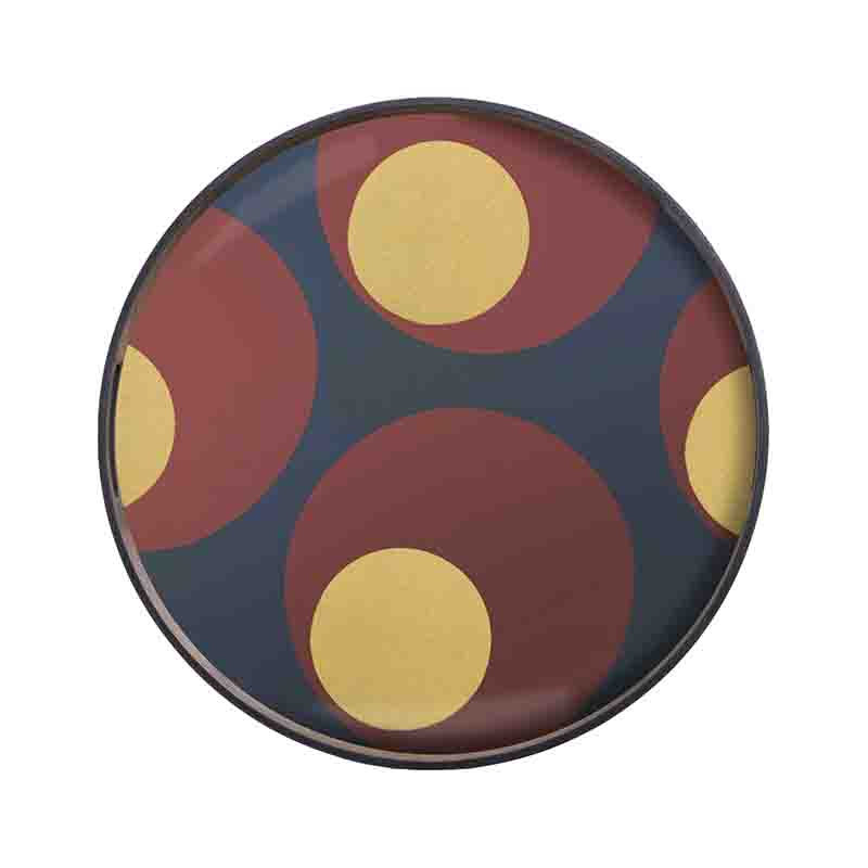 Ethnicraft Turkish Dots Round Glass Tray by Dawn Sweitzer Olson and Baker - Designer & Contemporary Sofas, Furniture - Olson and Baker showcases original designs from authentic, designer brands. Buy contemporary furniture, lighting, storage, sofas & chairs at Olson + Baker.