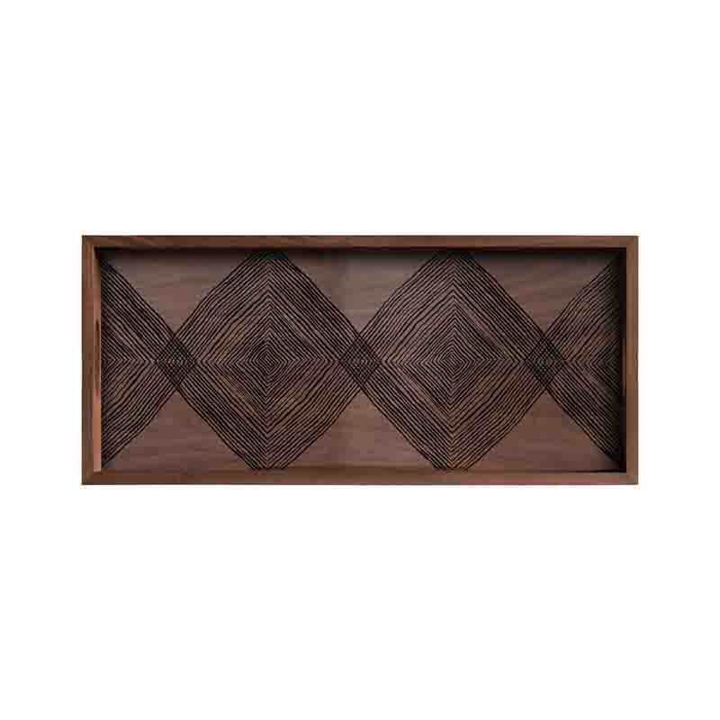 Ethnicraft Walnut Linear Squares Rectangular Glass Tray by Dawn Sweitzer Olson and Baker - Designer & Contemporary Sofas, Furniture - Olson and Baker showcases original designs from authentic, designer brands. Buy contemporary furniture, lighting, storage, sofas & chairs at Olson + Baker.