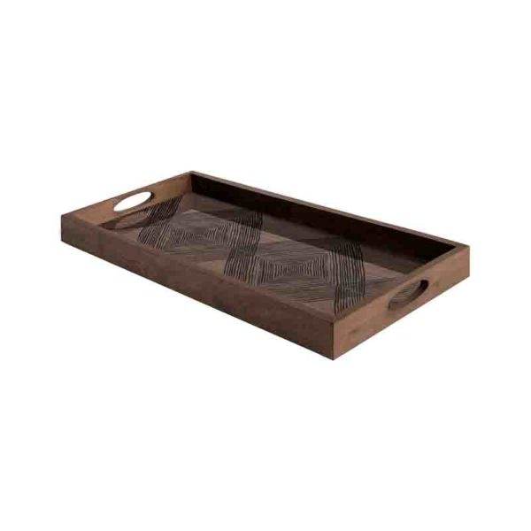 Walnut Linear Squares Rectangular Glass Tray